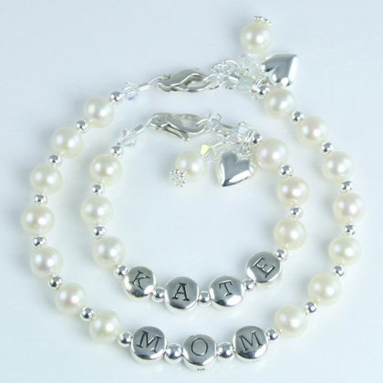 Forever Loved - Freshwater Cultured Pearl Mother Daughter Bracelet Set