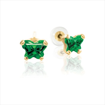 Baby 14K Yellow Gold May Emerald C.Z. Tiny Butterfly Push Back Stud Earrings
