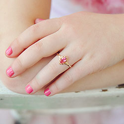 Children's Birthstone Rings - 14k Yellow Gold Girls October Pink Tourmaline Birthstone Ring - Size 5 1/2 - Perfect for Grade School Girls, Tweens, or Teens