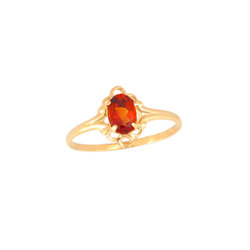 Children's Birthstone Rings - 14K Yellow Gold Girls January Garnet Birthstone Ring - Size 5 1/2 - Perfect for Grade School Girls, Tweens, or Teens - BEST SELLER/