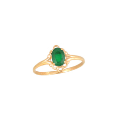 Children's Birthstone Rings - 14K Yellow Gold Girls May Emerald Birthstone Ring - Size 5 1/2 - Perfect for Grade School Girls, Tweens, or Teens - BEST SELLER/