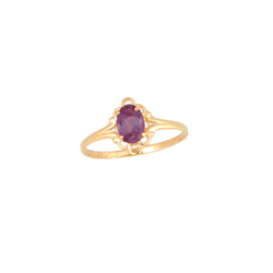 Children's Birthstone Rings - 14K Yellow Gold Girls June Rhodolite Garnet Birthstone Ring - Size 5 1/2 - Perfect for Grade School Girls, Tweens, or Teens - BEST SELLER/