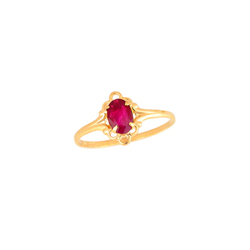 Children's Birthstone Rings - 14K Yellow Gold Girls July Ruby Birthstone Ring - Size 5 1/2 - Perfect for Grade School Girls, Tweens, or Teens - BEST SELLER/