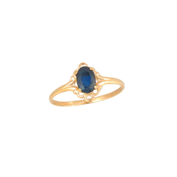 Children's Birthstone Rings - 14K Yellow Gold Girls September Blue Sapphire Birthstone Ring - Size 5 1/2 - Perfect for Grade School Girls, Tweens, or Teens - BEST SELLER/