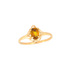 Children's Birthstone Rings - 14K Yellow Gold Girls November Citrine Birthstone Ring - Size 5 1/2 - Perfect for Grade School Girls, Tweens, or Teens - BEST SELLER/