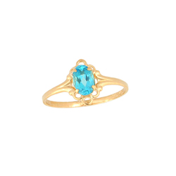 Children's Birthstone Rings - 14K Yellow Gold Girls Genuine Blue Zircon December Birthstone Ring - Size 5 1/2 - Perfect for Grade School Girls, Tweens, or Teens - BEST SELLER/