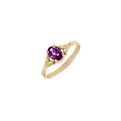 Kid's Birthstone Rings for Girls - 14K Yellow Gold Girls February Amethyst Birthstone Ring - Size 4 1/2 - Perfect for Grade School Girls, Tweens, or Teens/