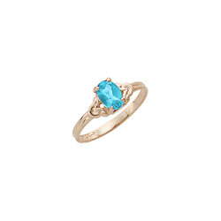 Kid's Birthstone Rings for Girls - 14K Yellow Gold Girls December Blue Zircon Birthstone Ring - Size 4 1/2 - Perfect for Grade School Girls, Tweens, or Teens/