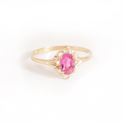 Children's Birthstone Rings - 14K Yellow Gold Girls October Pink Tourmaline Birthstone Ring - Size 5 1/2 - Perfect for Grade School Girls, Tweens, or Teens - BEST SELLER/