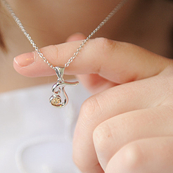 Girls Script Initial T - 14k Yellow Gold and Sterling Silver Diamond Pendant Children's Necklace - Includes 14-inch to 16-inch Chain