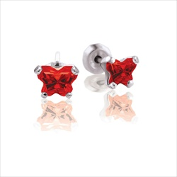 Baby 14K White Gold January Garnet C.Z. Tiny Butterfly Push Back Stud Earrings/