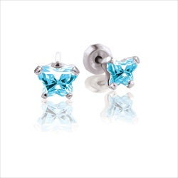 Baby 14K White Gold March Aquamarine C.Z. Butterfly Push Back Stud Earrings - BEST SELLER/