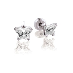Baby 14K White Gold April Diamond C.Z. Tiny Butterfly Push Back Stud Earrings/