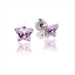Baby 14K White Gold June Alexandrite C.Z. Tiny Butterfly Push Back Stud Earrings/