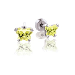 Baby 14K White Gold August Peridot C.Z. Tiny Butterfly Push Back Stud Earrings/