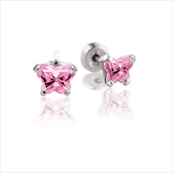 Baby 14K White Gold October Pink Tourmaline C.Z. Tiny Butterfly Push Back Stud Earrings/