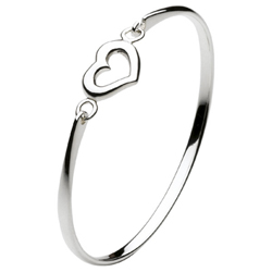 Keepsake Girls Heart Bangle Bracelet - Sterling Silver Rhodium - Size 5.5