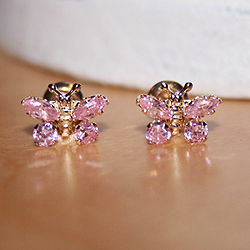 Girls Elegant Flower Girl Keepsakes™ - 14K Yellow Gold Screw Back Pink CZ Butterfly Earrings for Girls - Safety threaded screw back post/
