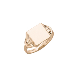 Boys Rings - 10K Yellow Gold Boys Engravable Signet Ring - Square Ring Face - Size 6/