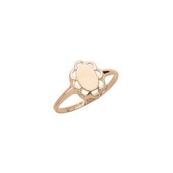 Girls Signet Ring - Oval 10K Yellow Gold Girls Engravable Signet Ring - Size 5 1/2 Child Ring/