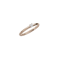Tiny Solitaire Diamond Ring For Girls - Tiny 2-point Genuine Diamond - 10K Yellow Gold - Size 3 1/2 (4 - 10 years)/