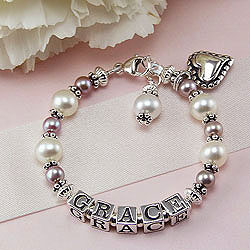 Grace™ by My First Pearls® – Grow-With-Me® designer original freshwater cultured pearl name bracelet – Personalize with gemstones & charms/
