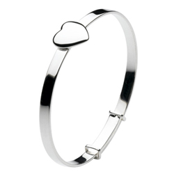 Keepsake Girls Engravable Heart Bangle Bracelet - Sterling Silver Rhodium - Size 5.25