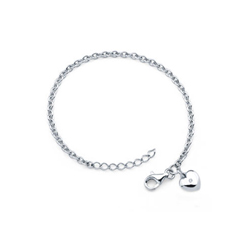 Girls Diamond Heart Charm Bracelet - Sterling Silver Rhodium - Size 5