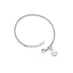 Girls Diamond Flower Charm Bracelet - Sterling Silver Rhodium - Size 5