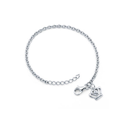Girls Diamond Princess Crown Charm Bracelet - Sterling Silver Rhodium - Size 5