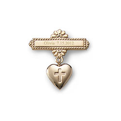Heart with Cross -14K Yellow Gold Religious Christening Pin - Brooch Jewelry for Baby/