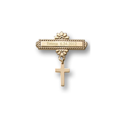 Cross - 14K Yellow Gold Religious Christening Pin - Brooch Jewelry for Baby/
