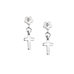 Dangle Cross Flower Diamond Earrings for Girls - Sterling Silver Rhodium Earrings with Push-Back Posts/