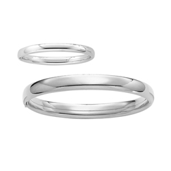 Fine Mother Daughter Bracelet Sets - High Polished Sterling Silver Rhodium Mother and Infant Daughter Bangle Bracelet Set - Size 7.25