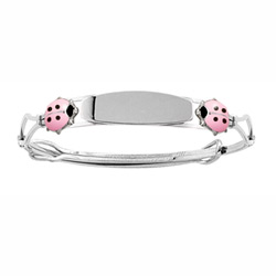 Pink Ladybug - Keepsake Adjustable Bracelets - High Polished Sterling Silver Rhodium Adjustable Bangle Bracelet - Engravable on front - One bracelet fits baby, toddler, and child up to 8 years/