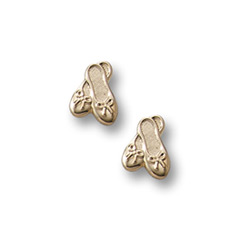 Gold Ballet Shoes Earrings for Girls - 14K Yellow Gold Screw Back Earrings for Baby, Toddler, Child/