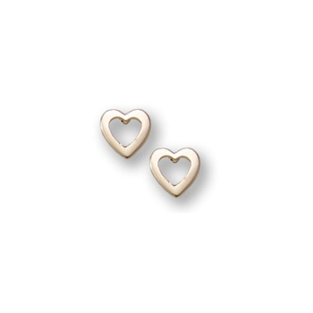 Gold Open Heart Earrings for Girls - 14K Yellow Gold Screw Back Earrings for Baby, Toddler, Child - BEST SELLER