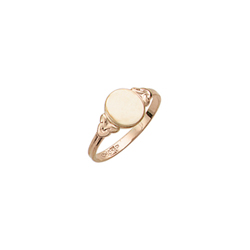 Because I Love You - Oval 10K Yellow Gold Girls Engravable Signet Ring - Size 4 Child Ring/