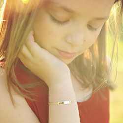 Elegant Heirloom Girls 14K Yellow Gold Personalized Kids ID Bracelet - Anchor Link - Size 6