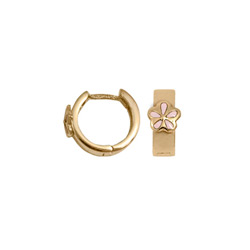 Baby, Child Huggies - 14k Yellow Gold Pink Flower Huggie Hoop Earrings for Girls - (Baby - Teen) - BEST SELLER/