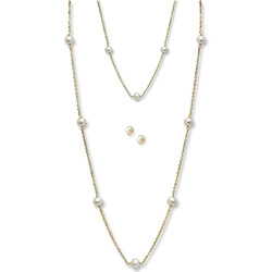 Little Girls Pearl Station Bracelet, Station Necklace, and Earring Set by My First Pearls® - Freshwater Cultured Pearl 14k Yellow Gold - 3 Item Set - Save $39 with this set/
