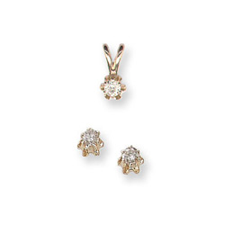 Little Girls Diamond Solitaire Necklace and Diamond Earring Set - 14k Yellow Gold - 2 Item Set - Save $30 with this set/