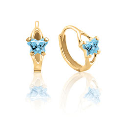 Baby 14K Yellow Gold March Aquamarine (Cubic Zirconia) C.Z. Tiny Butterfly Huggie Hoop Earrings - BEST SELLER/