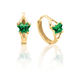 Baby 14K Yellow Gold May Emerald (Cubic Zirconia) C.Z. Tiny Butterfly Huggie Hoop Earrings/