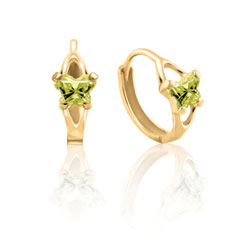 Baby 14K Yellow Gold August Peridot (Cubic Zirconia) C.Z. Tiny Butterfly Huggie Hoop Earrings/