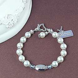 Sophisticated Baby™ by My First Pearls® – Grow-With-Me® designer original freshwater cultured pearl bracelet – Personalize with gemstones & charms/