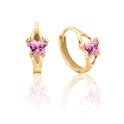 Baby 10K Yellow Gold October Pink Tourmaline (Cubic Zirconia) C.Z. Tiny Butterfly Huggie Hoop Earrings/