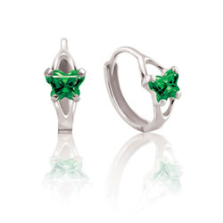 Baby 14K White Gold May Emerald (Cubic Zirconia) C.Z. Tiny Butterfly Huggie Hoop Earrings/