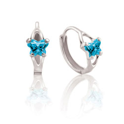 Baby 10K White Gold December Blue Topaz (Cubic Zirconia) C.Z. Tiny Butterfly Huggie Hoop Earrings/
