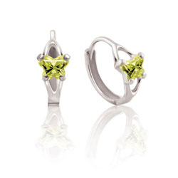 Baby 10K White Gold August Peridot (Cubic Zirconia) C.Z. Tiny Butterfly Huggie Hoop Earrings/